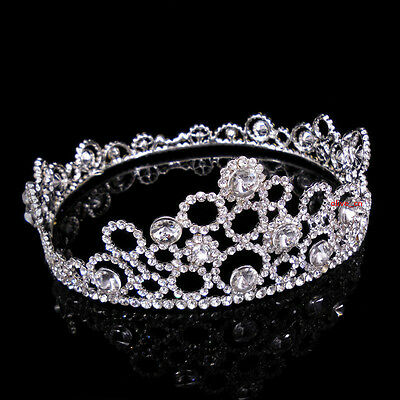 5.5cm High Full Crystal Circles Wedding Bridal Party Pageant Prom Round Crown