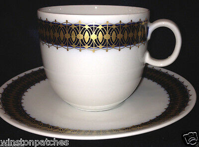 Heritage Bavaria Germany Arabesque Cup & Saucer 10 Oz Gold & Cobalt Band