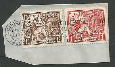 1925 British Empire Exhibition Pair Fine Used  On Piece Sept 7Th 1925 C.£100