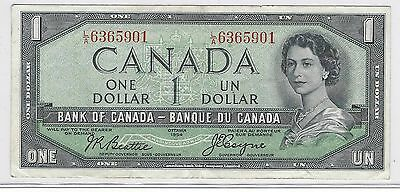 1954 Canada Banknote***one Dollar***very Fine Condition***bank Of Canada***f