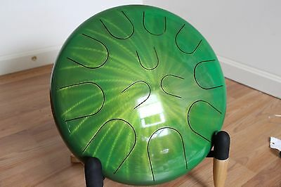 "Ajna 16"" 12 Tone Green Steel Tongue Drum with Case Shiraz Scale USA Made"