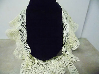 Vintage Crochet Long Collar Double Layer Ruffled Ivory White
