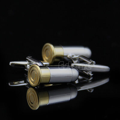 Dress Bullet Two Tone Silver Gold Cufflinks Cuff Links Men's Wedding Party Gift