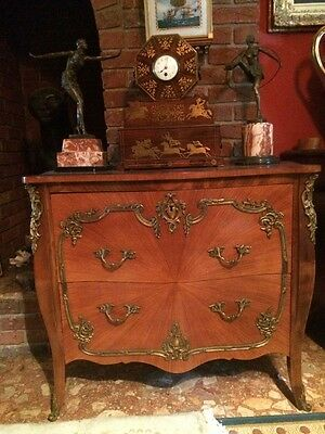 Antique French Louis XV Bombe Canted Ormolu Mounted Commode Chest Drawers