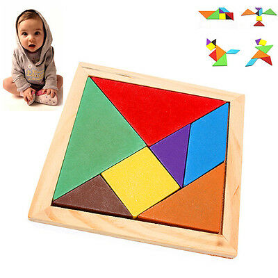 7 Piece Wooden Puzzle Tangram Baby Kid IQ Brain Teaser Intelligent Game Toy Gift
