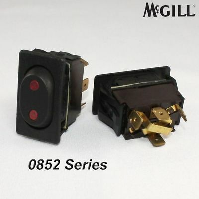McGill 0852 Momentary On/Off/(On) Rocker Switch Black w/ Red Lights