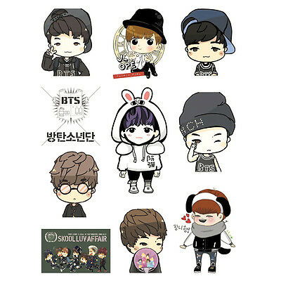 Bangtan Boys Kpop BTS SUGA V JIN J-HOPE JUNGKOOK JIMIN RAP MONSTER TATOO STICKER