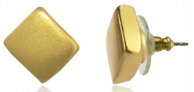 Fashion Jewelry Historical Memorabilia Across The Puddle 24k Gp Pre-columbian Extra Small Plain Cube Stud Earrings