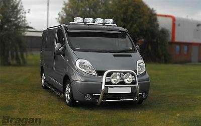 2002 - 2014 Renault Trafic Stainless Steel Front Roof Light Bar + LEDs + Spots