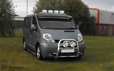 Renault Trafic 2002-2014 Stainless Steel Front Roof Light Bar + LEDS + Spots