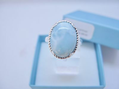 Larimar Natural Vintage Ring 12X16mm 9.25ct Solid .925 Sterling Silver Size 9