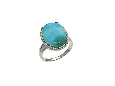 Larimar Natural Vintage Ring 12X16mm 9.25ct Solid .925 Sterling Silver Size 8