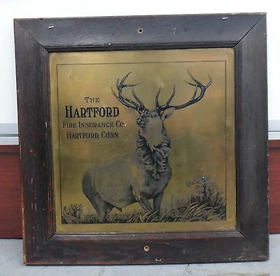Vintage Hartford Fire Insurance Company Connecticut Brass Plaque w/ Wood Frame