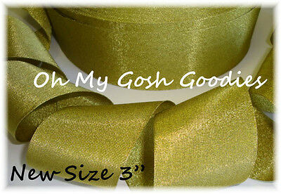 "3"" Gold Shimmy Shimmer Glitter Sparkle Bling Princess Cheer Grosgrain Ribbon"