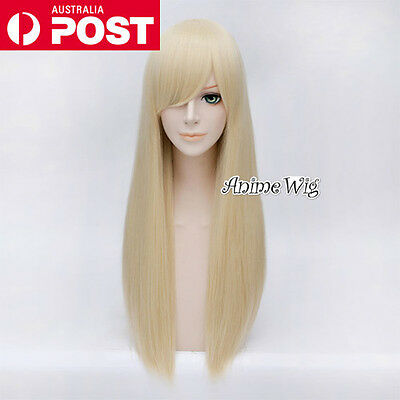70CM Light Blonde Long Straight Lolita Fashion Lady Cosplay Wig Heat Resistant