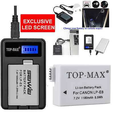 Battery + USB Charger For Canon LP-E8 LPE8 EOS 550D 600D 650D 700D UPDATED