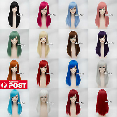 55CM Magenta/Blue/Green/Pink/White Long Straight Lolita Fashion Lady Cosplay Wig