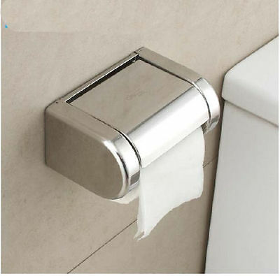 Wall Mounted Bathroom Chrome Toilet Paper Holder Tissue Box W/ Waterproof Cover