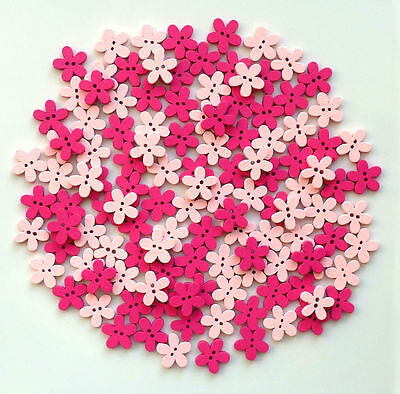 150 15mm WOODEN FLOWER BUTTONS 2 X PINK COLOURS SCRAPBOOKING EMBELISHMENTS