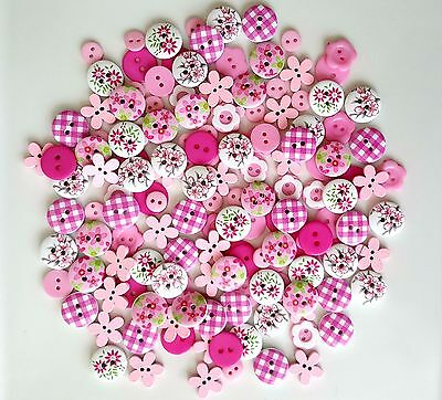 150 X 9mm-15mm PINK WOODEN & RESIN BUTTONS SCRAPBOOKING SEWING CRAFT CARD MAKING