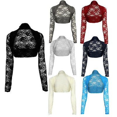 JUSTYOUROUTFIT Women Stretchy Lace Cropped Bolero Shrug Party Open Top Size 8-22