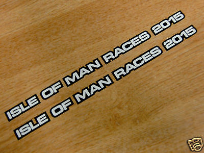 2 x isle of man races 2015 stickers - 200x10mm - visor decals - BLACK