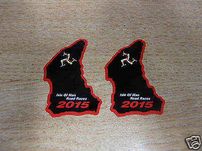 x2 ISLE OF MAN TT RACES course map sticker BLACK/RED 50mm high 2015