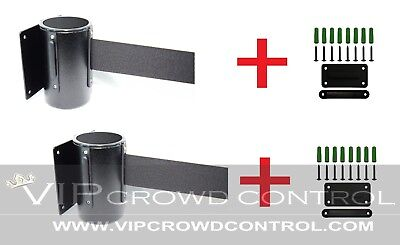 "Wall Mount Stanchions, 2 Pcs Package Aisleway 156"" Black Belt, Vip Crowd Control"
