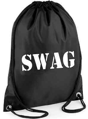 SWAG BAG Printed Gymsac - Black Funny Thief Burglar Fancy Dress Costume