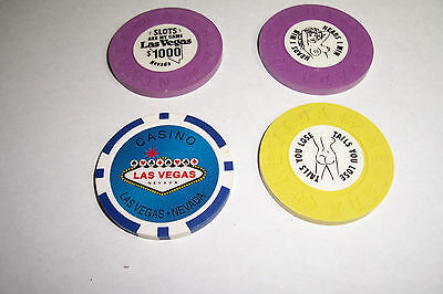 Set Of 4  Different Las Vegas Souvenir   Chips