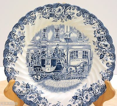 "Coaching Scenes Johnson Brothers Blue White Plate 8"" England Made"