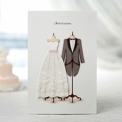 Personalized White Wedding Invitations 3D Fabric Lace Dress Tuxedo Cards SW3027