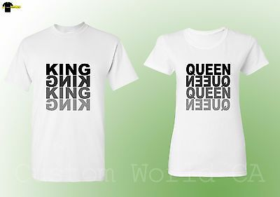 Couple T Shirts King  QUEEN Matching Tees His and Hers New Design (White)
