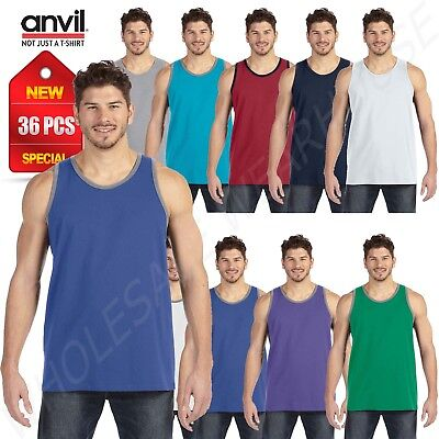 NEW 36 PC WHOLESALE CASE Anvil Tank Top Unisex Ringspun Cotton W986