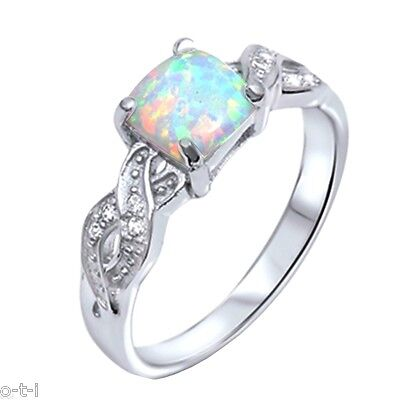 Infinity Celtic Princess Cut Moon Fire Opal Birthstone Sterling Silver Ring