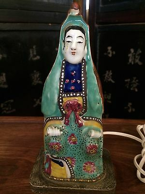 Chinese Antique 19Th Century Porcelain Guan-Yin Figurine W/ Lamp