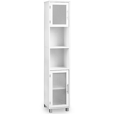 Bathroom Cabinet White With Satinised Glass Doors Tall Shelf Cupboard Storage