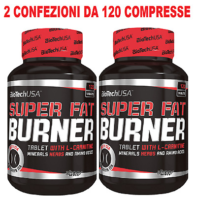 2x Biotech Usa Super Fat Burner 120 cpr. Termogenico Bruciagrassi Dimagrante
