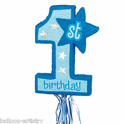 55cm Blue Boy Happy 1st Birthday Number 1 Pull String Pinata Party Game
