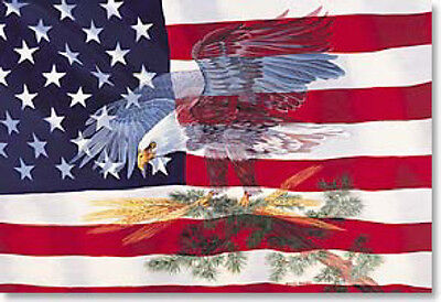 LEANIN TREE Symbol of Freedom Eagle and American Flag ~ Fridge Magnet #25507~