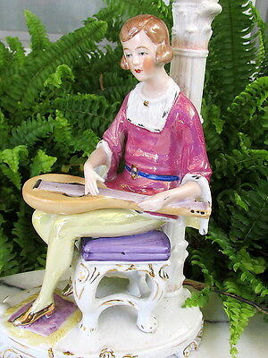 Wonderful 1930's German Porcelain Half Doll Related Figural Lady Lamp