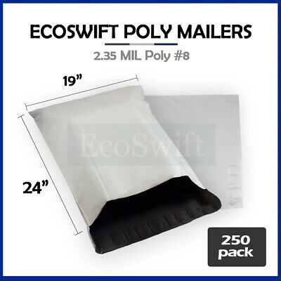 250 19 x 24 White Poly Mailers Shipping Envelopes Self Sealing Bags 2.35 MIL