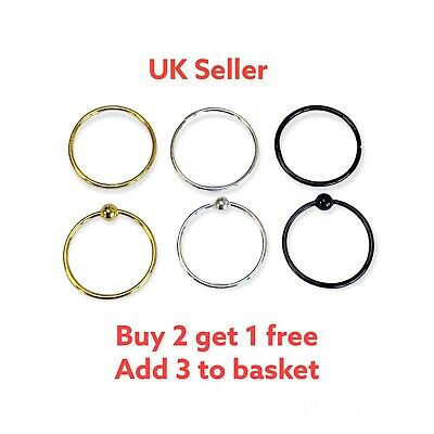 Sterling Silver Cartilage Earring Tragus Nose Ring Eyebrow  Hoop Piercing