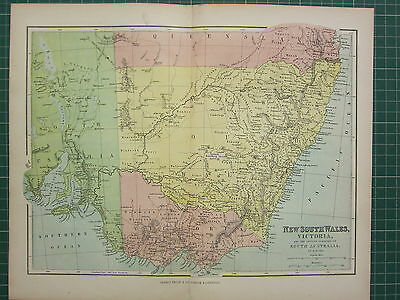 1869 Antique Map ~ New South Wales Victoria Settled South Australia