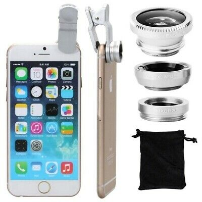 3 in 1 Camera Set Fish Eye Wide Angle Macro Lens +Clip For Samsung iPhone Silver