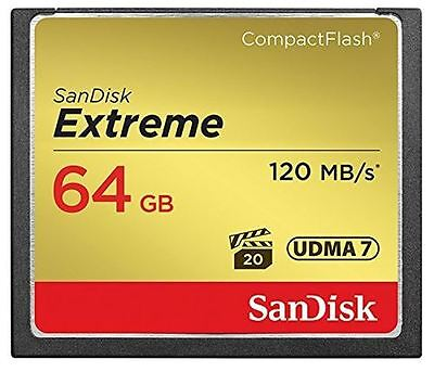 SanDisk 64GB Extreme UDMA 7 Compact Flash Card 120MB/s Read - 85MB/s Write