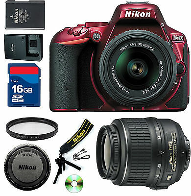 Nikon D5500  DSLR Camera (RED) -CellTime kit with 18-55mm DX VR & 16GB SD Card