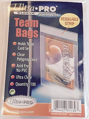 Ultra Pro Resealable Regular Size Team Bags Quantity 100 Acid Free No Pvc