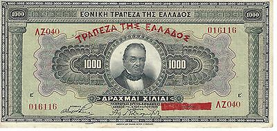 1926 Greece Banknote***1000 Drachmai***about Uncirculated Condition       Adbe