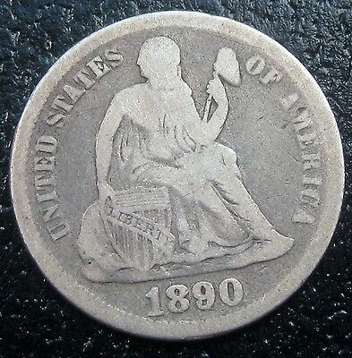 1890 Seated Liberty Silver Dime Fine G1658